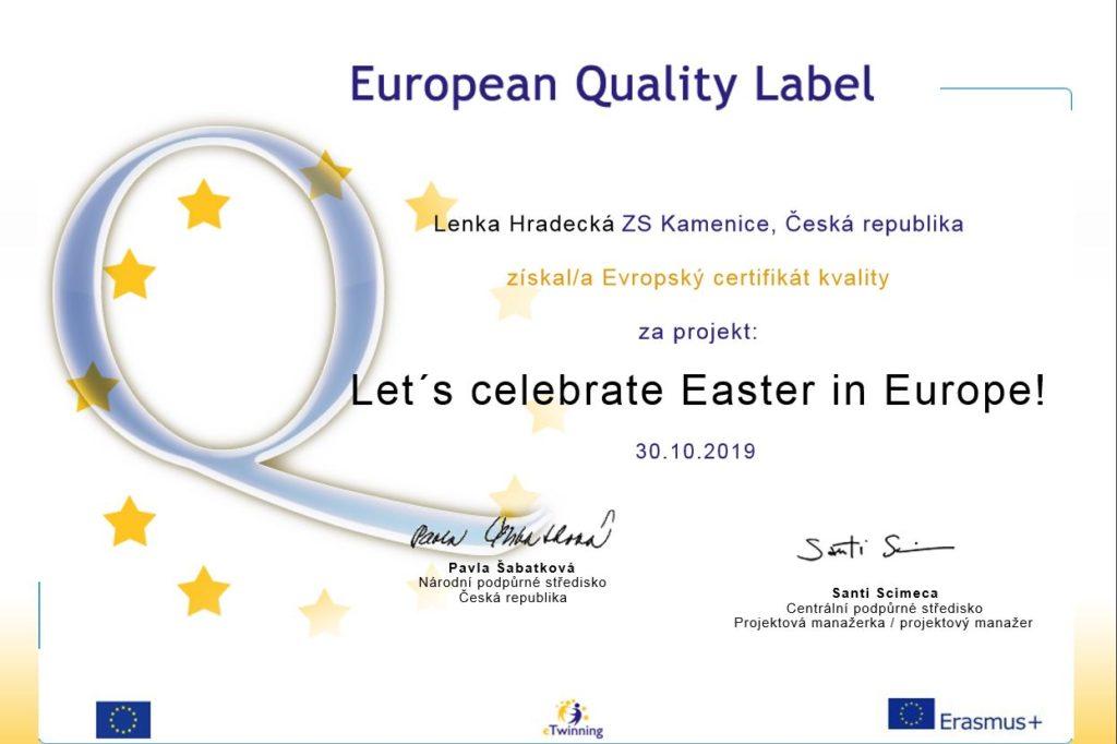 Mezinárodní projekt Let's celebrate Easter in Europe získal evropské ocenění